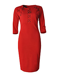 Plus Size Party/Cocktail Vintage Bodycon Dress,Solid Round Neck Knee-length ¾ Sleeve Polyester Spandex Red Black Summer High Rise