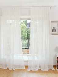Dois Painéis Tratamento janela Flor Quarto Poliéster Material Sheer Curtains Shades Decoração para casa For Janela