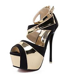 Mujer-Tacón Stiletto-Zapatos del club-Tacones-Vestido-Cuero Patentado-Blanco Oro