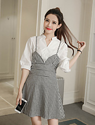 Sign 2017 spring new fashion Oufan sleeve white shirt strap dress two-piece women