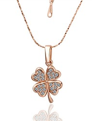 Pendant Necklaces AAA Cubic Zirconia Zircon Gold Plated Rose Gold Plated Alloy FlowerBasic Unique Design Flower Style Dangling Style