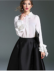 Women's Formal Work Sophisticated Shirt,Solid Round Neck Long Sleeve Blue White Black Silk