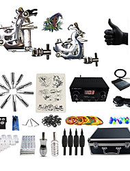 Complete Tattoo Kit G2A4A6P 2machines liner & shader Lion LED power supply Ink Cups