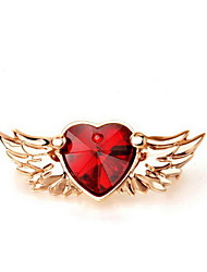 Women's Brooches Rhinestone Rhinestone Simulated Diamond Alloy Love Heart Fashion Euramerican Heart Wings / Feather Wine JewelryDaily