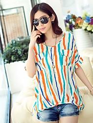 Damen Gestreift Niedlich Street Schick Ausgehen Lässig/Alltäglich Urlaub T-shirt,Rundhalsausschnitt Kurzarm Rot Orange Baumwolle