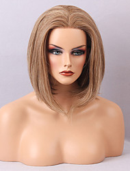 Best Value Front Lace Wig Human Hair Medium Straight No Bangs Bob Hairstyle Heat Resistant Hair