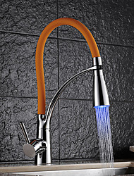 Contemporary Brass Chrome Finish RGB LED Kitchen Sink Faucet - Black / Green / Orange