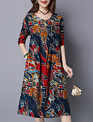 Women's Casual/Daily Round Neck Long Sleeve Knee-length Chinoiserie Print Dress