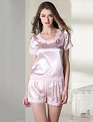 Damen Satin & Seide Anzüge Nachtwäsche,Sexy Spitze einfarbig-Dünn Satin Seide Eis-Seide Weiß Rosa Lila