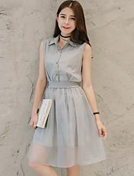 2016 petite robe rayée frais col de chemise bout de fil net