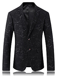 Men's Party/Cocktail Club Simple Street chic Spring Summer Blazer,Solid Print Square Neck Long Sleeve Regular Cotton Polyester Jacquard