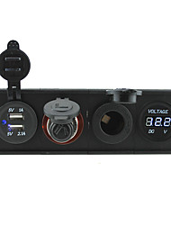 12V/24V 3.1A USB portcigarette lighter socketPower socket and voltmeter with housing holder panel for car boat truck RV