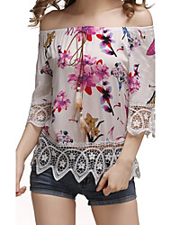 Women Casual Sexy Slim Vintage Chinoiserie Floral Boat Neck Fashion All Match T-shirt