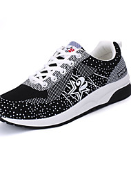 Women's Athletic Shoes Spring Fall Couple Shoes Tulle Outdoor Casual Athletic Flat Heel Lace-up White Black Gray Pink Running