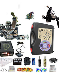 Complete Tattoo Kit G2Z10A2 2 machines liner & shader Lion LED power supply Ink Cups