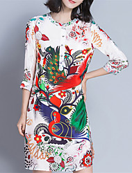 Fashion Round Neck 1/2 Sleeves Animal Printing Loose Dress Daily Leisure Dating Party Dresses