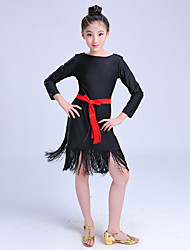 Latin Dance Dresses Children's Performance Milk Fiber Sash/Ribbon Tassel(s) 1 Piece Long Sleeve High Dance Costume Red/Black