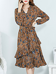 Women's Street chic Going out V Neck Long Sleeve Knee-length Print Pleated Dress
