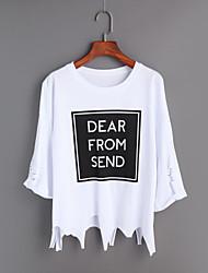 Damen Druck Einfach Ausgehen T-shirt,Rundhalsausschnitt Frühling Sommer Langarm Baumwolle