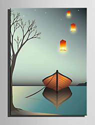 E-HOME Stretched LED Canvas Print Art Silent Boat LED Flashing Optical Fiber Print One Pcs