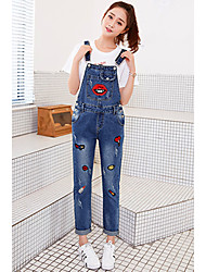 Sign no new water grip Dan embroidery pattern large pocket denim strap trousers female feet