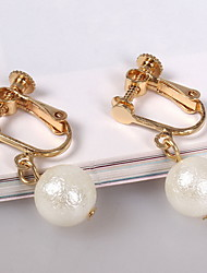 Drop Earrings Clip Earrings Jewelry Daily Casual Alloy Imitation Pearl 1 pair White Yellow Gold