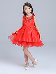 Ball Gown Knee-length Flower Girl Dress - Organza Jewel with Embroidery