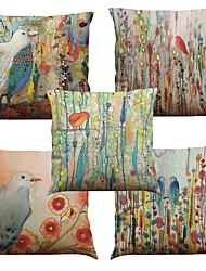 5 штук Лён Натуральный Наволочка Наволочки,Цветочные Однотонный Текстура Цветная клеткаЕвро Пляжный стиль Повседневный Ретро