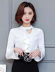 Sign 2017 new spring lotus leaf collar long-sleeved chiffon shirt blouse