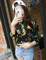 Sign sweet retro print collar strapless chiffon shirt lantern sleeve shirt