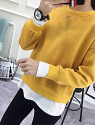 INS new Korean Institute of wind loose round neck hedging fake two solid color cashmere sweater female light board