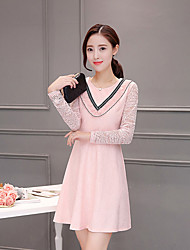 Sign 2017 spring new Slim small fragrant wind ladies fashion conventional long-sleeved lace dress