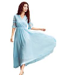 Mousseline de Soie Robe Femme Sortie Décontracté / Quotidien simple Chic de Rue,Couleur Pleine Col en V Maxi ½ Manches Bleu Polyester
