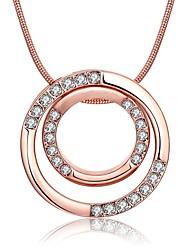 Feminino Colares com Pendentes Colares em Corrente Zircônia cúbica Forma Redonda Zircão Rosa Folheado a Ouro Liga Básico Circular