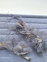 Feder Tüll Netz Kopfschmuck-Hochzeit Besondere Anlässe Kopfschmuck Blumen Haarclip 2 Stück