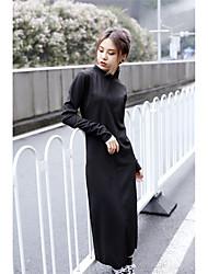 Sinal ya início da primavera novo nós pequeno colar de alta uma peça ultra-fina vestido de algodão preto e tornozelo