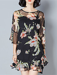 Fashion Wild Round Neck 3/4 Sleeves Lrregular Hem Lotus Leaf Dress Everyday Casual Going Out Home Beach Dresses
