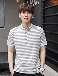 2017 verano nuevos hombres&# 39; s polo camisa de solapa hombres coreanos&# 39; s algodón a rayas de manga corta camiseta hombres