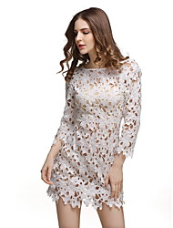 Women's Beach Sexy Tunic Dress,Print Round Neck Above Knee Long Sleeve White Polyester Summer Mid Rise Micro-elastic Thin