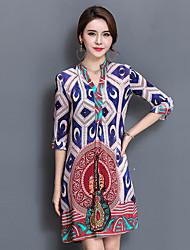 Ample Robe Femme Sortie Décontracté / Quotidien Vintage Chinoiserie,Imprimé Col en V Au dessus du genou ½ Manches Bleu Soie Eté Automne