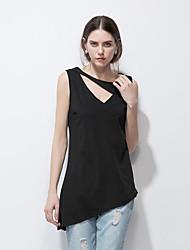Feminino Camiseta Casual Formal Moda de Rua Primavera Verão,Sólido Branco Preto Poliéster Decote V Sem Manga Fina