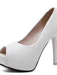 Damen-High Heels-Kleid-PU-StöckelabsatzWeiß Schwarz