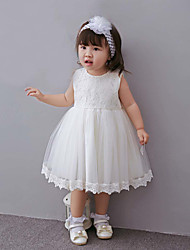 Baby Party/Cocktail Floral DressPolyester All Seasons White
