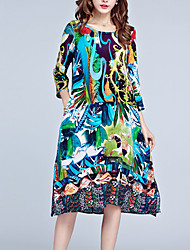 Women's Going out Plus Size Sophisticated Loose Dress,Print Round Neck Midi Silk Polyester Spring Mid Rise Micro-elastic Medium