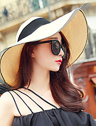 Women's Fashion Wide Large Brim Floppy Hat Straw Hat Sun Hat Beach Cap Casual Holiday Summer