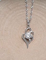 Pendants Sterling Silver Simulated Diamond Wings / Feather Basic Heart Fashion Silver Jewelry Daily Casual 1pc