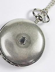 Unissex Relógio de Bolso Quartzo Gravação Oca Lega Banda Vintage Prata Prata