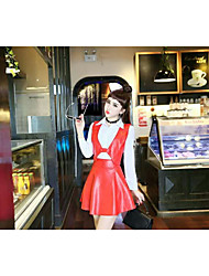 echte Mode-Shooting wilden süßen Temperament Hemd grundiert + pu Pima + Rock Anzug schlank