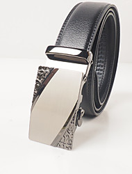 Men's fashion leisure black leather automatic buckle alloy of carve patterns or designs on woodwork agio with about 3.6 cm wide