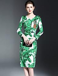 Для женщин На каждый день Простое Оболочка Платье С принтом,V-образный вырез Средней длины Длинный рукав Полиэстер Весна Лето Со
